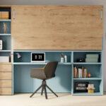 Dormitorio juvenil con cama abatible horizontal alta 12d-0008 color azul y roble vista completa