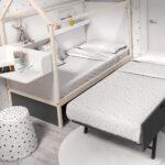 Dormitorio infantil con cama casita doble 12f-0005 color tierra pizarra y blanco vista de detalle