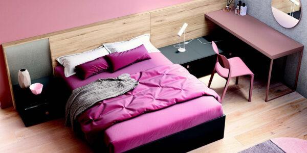 Dormitorio juvenil 12f-0008 color rosa y madera vista top