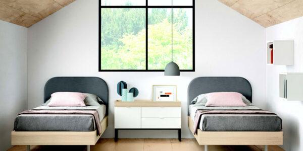Dormitorio juvenil con camas dobles 12f-0007 color blanco y madera vista frontal