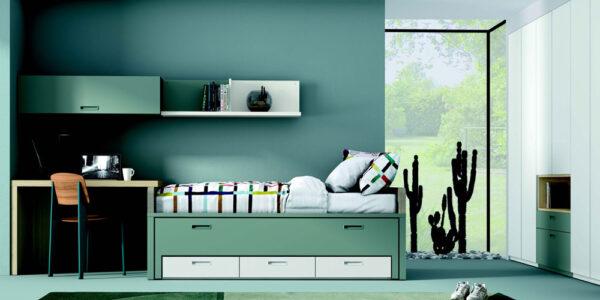 Dormitorio juvenil 12b-0006 color verde y blanco vista frontal