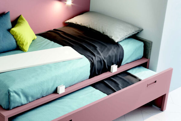 Dormitorio juvenil 12b-0005 color rosa y blanco vista de detalle