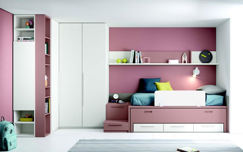 Dormitorio juvenil 12b-0005 color rosa y blanco vista frontal