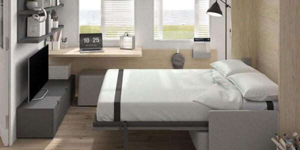 Dormitorio juvenil con cama abatible vertical 12d-0009 color gris y madera vista abierta