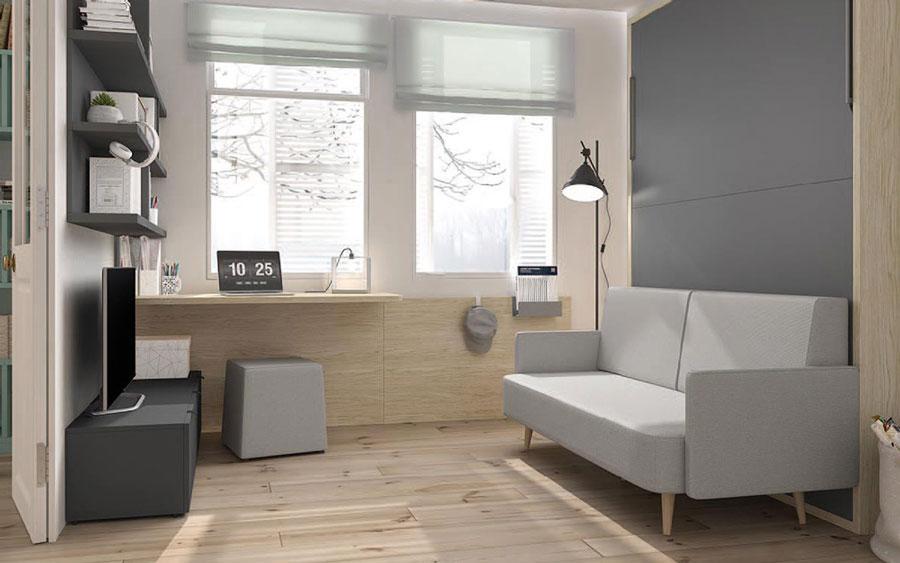 Dormitorio juvenil con cama abatible vertical 12d-0009 color gris y madera vista cerrada