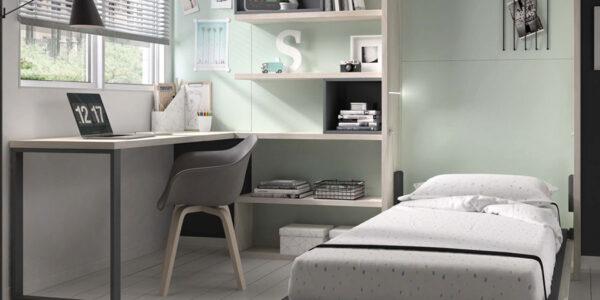 Dormitorio juvenil con cama abatible vertical 12d-0010 color madera vista abierta