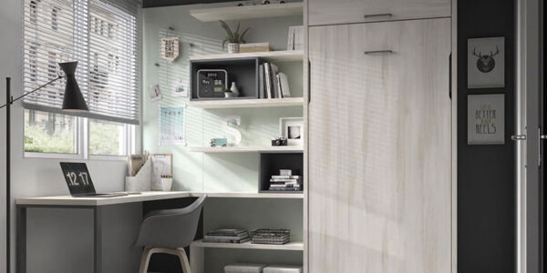 Dormitorio juvenil con cama abatible vertical 12d-0010 color madera vista general