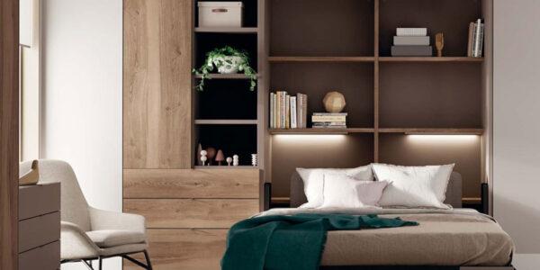 Dormitorio juvenil con cama abatible vertical 12d-0012 color madera vista completa