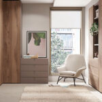 Dormitorio juvenil con cama abatible vertical 12d-0012 color madera vista completa cerrada