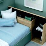 Dormitorio kids con cama bloc 12c-0005 color verde vista de detalle de cajón abierto