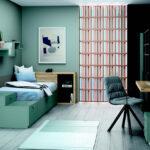 Dormitorio kids con cama bloc 12c-0005 color verde vista general