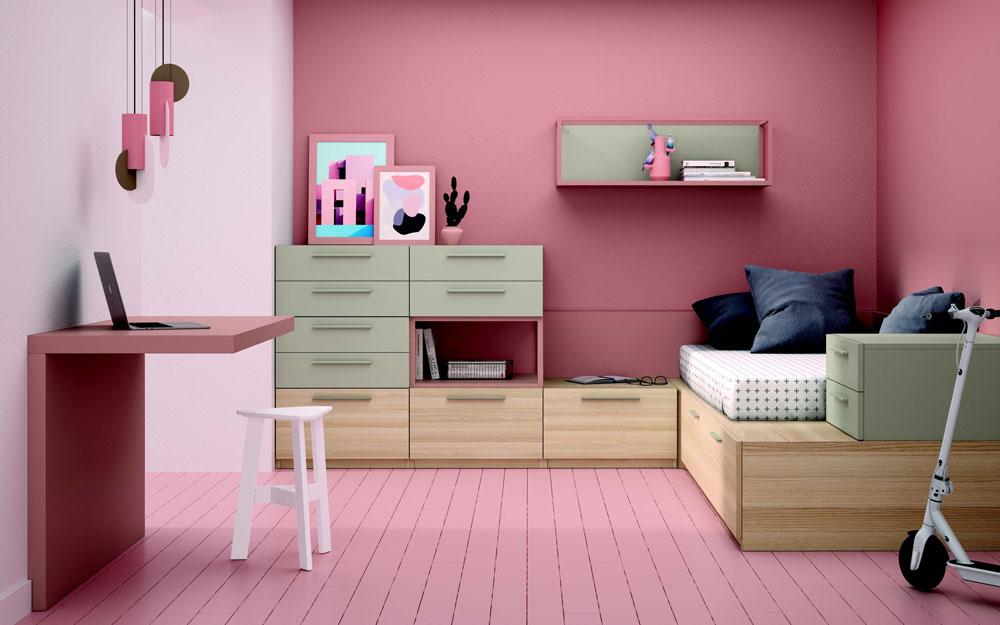 Dormitorio kids con cama bloc 12c-0006 color rosa y verde vista general