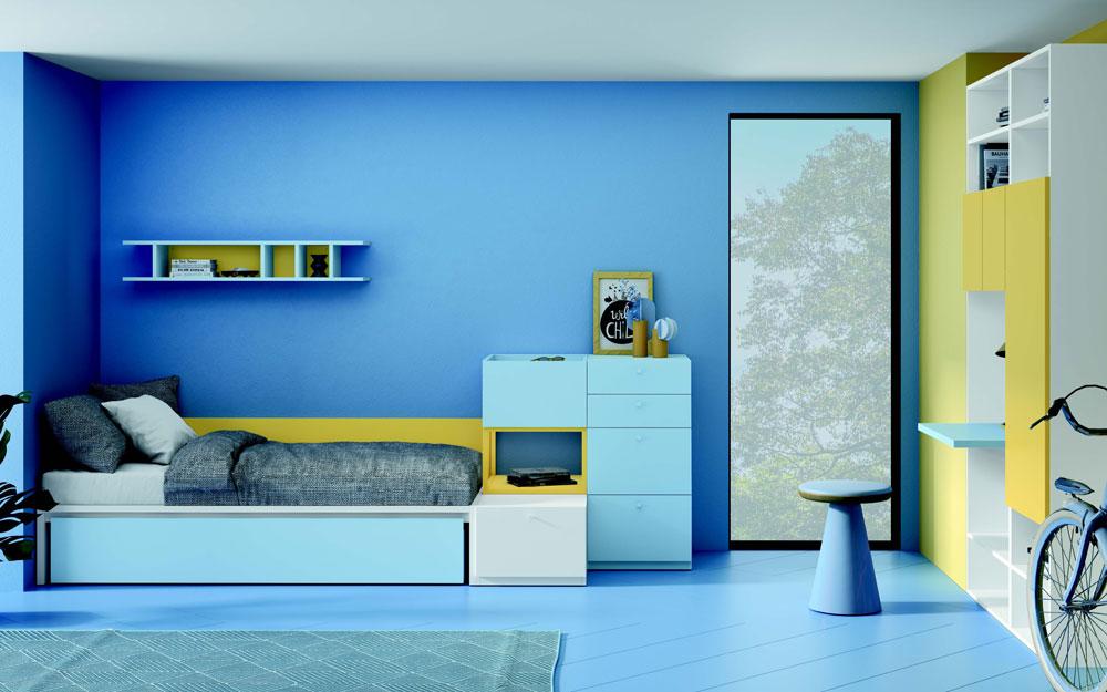 Dormitorio kids con cama bloc 12c-0007 color azul y mostaza vista general