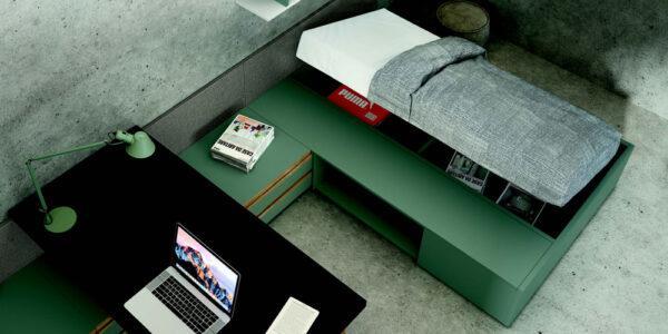 Dormitorio kids con cama bloc 12c-0008 color blanco y verde vista de detalle