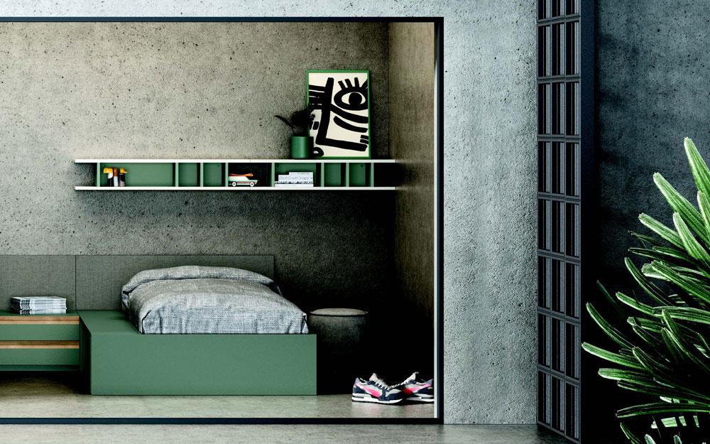 Dormitorio kids con cama bloc 12c-0008 color blanco y verde vista general