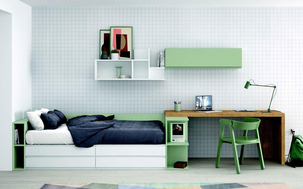 Dormitorio kids con cama bloc 12c-0009 color blanco y verde vista frontal