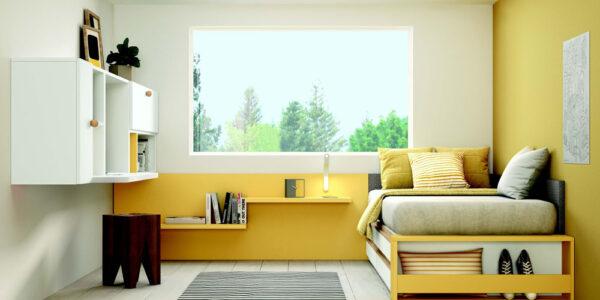 Dormitorio kids cama bloc 12c-0010 color blanco y mostaza vista general