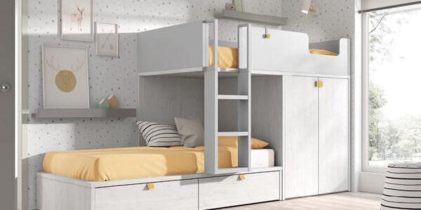 Dormitorio kids con literas 12e-0003 color blanco y mostaza vista completa
