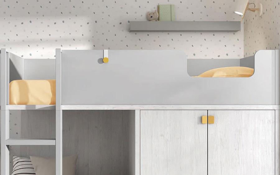 Dormitorio kids con literas 12e-0003 color blanco y mostaza vista de detalle