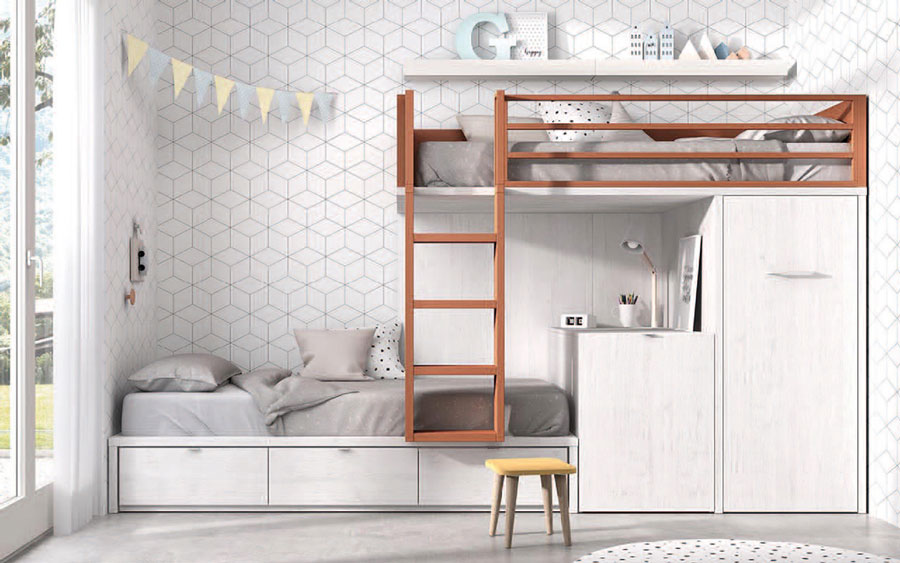 Dormitorio kids con literas 12e-0004 color blanco y teja vista frontal