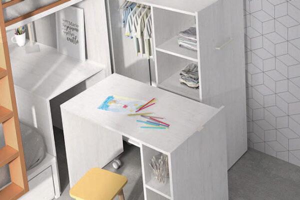 Dormitorio kids con literas 12e-0004 color blanco y teja vista de detalle