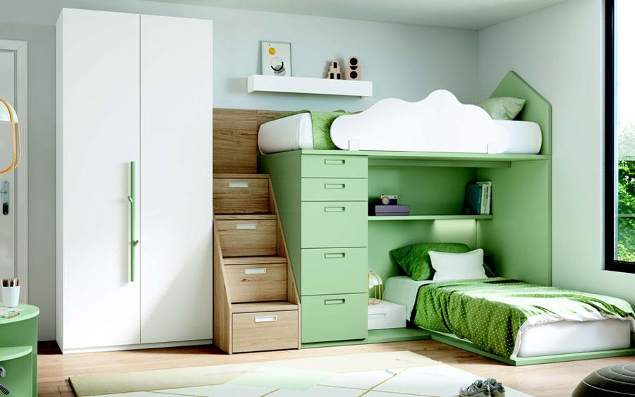 Dormitorio kids con literas 12e-0005 color verde y blanco y madera vista completa