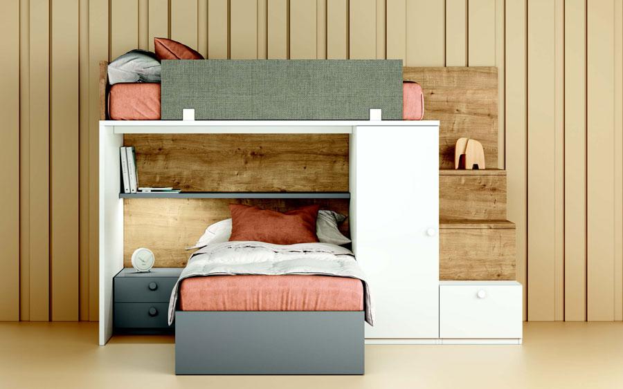 Dormitorio kids con literas 12e-0006 color blanco y madera vista técnica