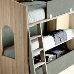 Dormitorio kids con literas 12e-0007 color verde y madera vista de detalle