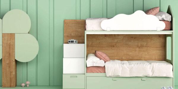 Dormitorio kids con literas 12e-0008 color verde y madera vista frontal