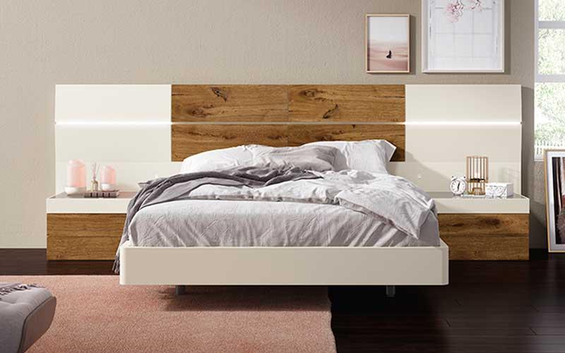 Dormitorio de matrimonio 10a-0010 color blanco y roble vista frontal