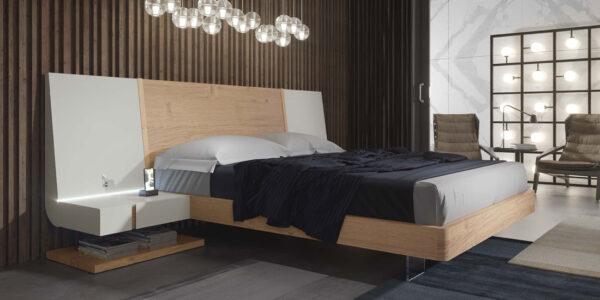 Dormitorio de matrimonio 11a-0016 color beige y blanco vista completa