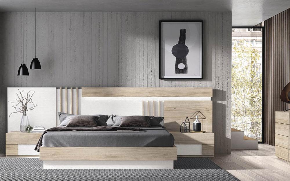 Dormitorio 11a-0025 color blanco y madera vista frontal
