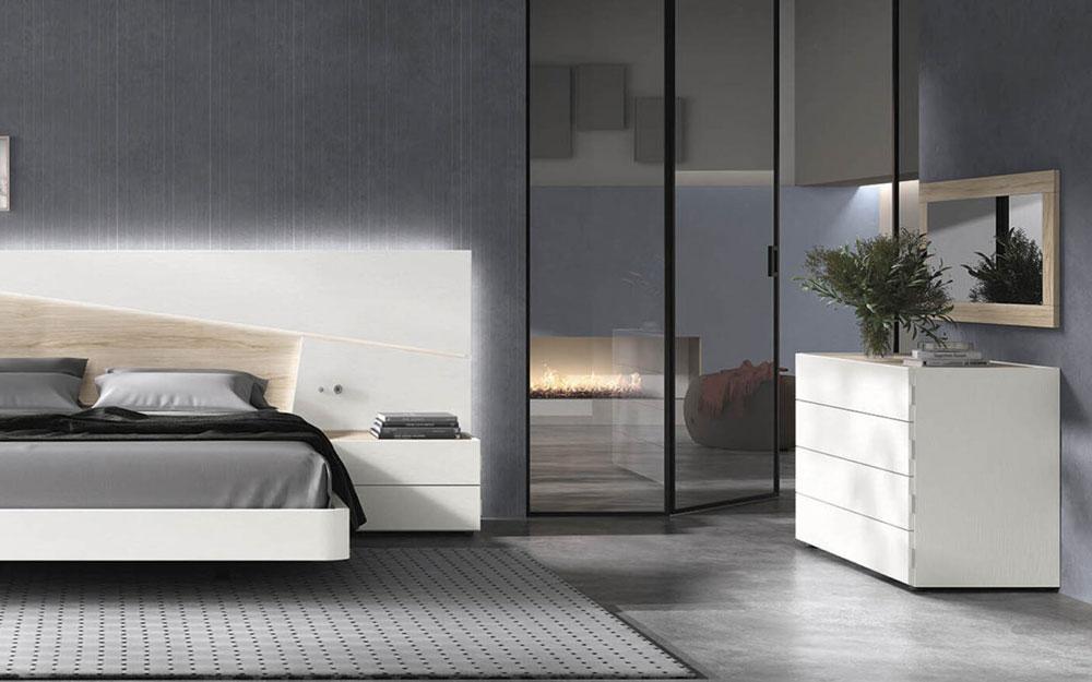 Dormitorio 11a-0027 color blanco y madera vista de detalle