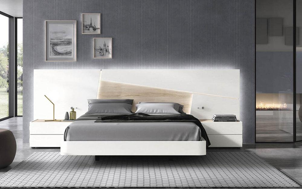 Dormitorio de matrimonio 11a-0027 color blanco y madera vista frontal