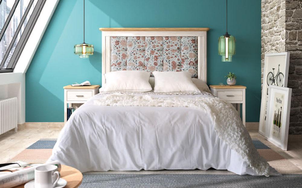 Dormitorio de matrimonio 11a-0030 color blanco y tapizado de flores vista frontal