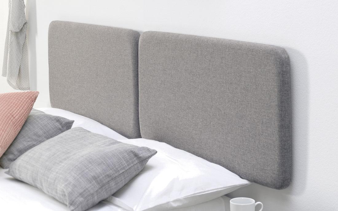 Detalle de cabecero de dormitorio de matrimonio 11a-0001 tapizado gris