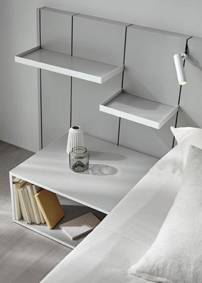 Mesilla y cabecero de dormitorio de matrimonio 11a-0004 color gris vista de detalle