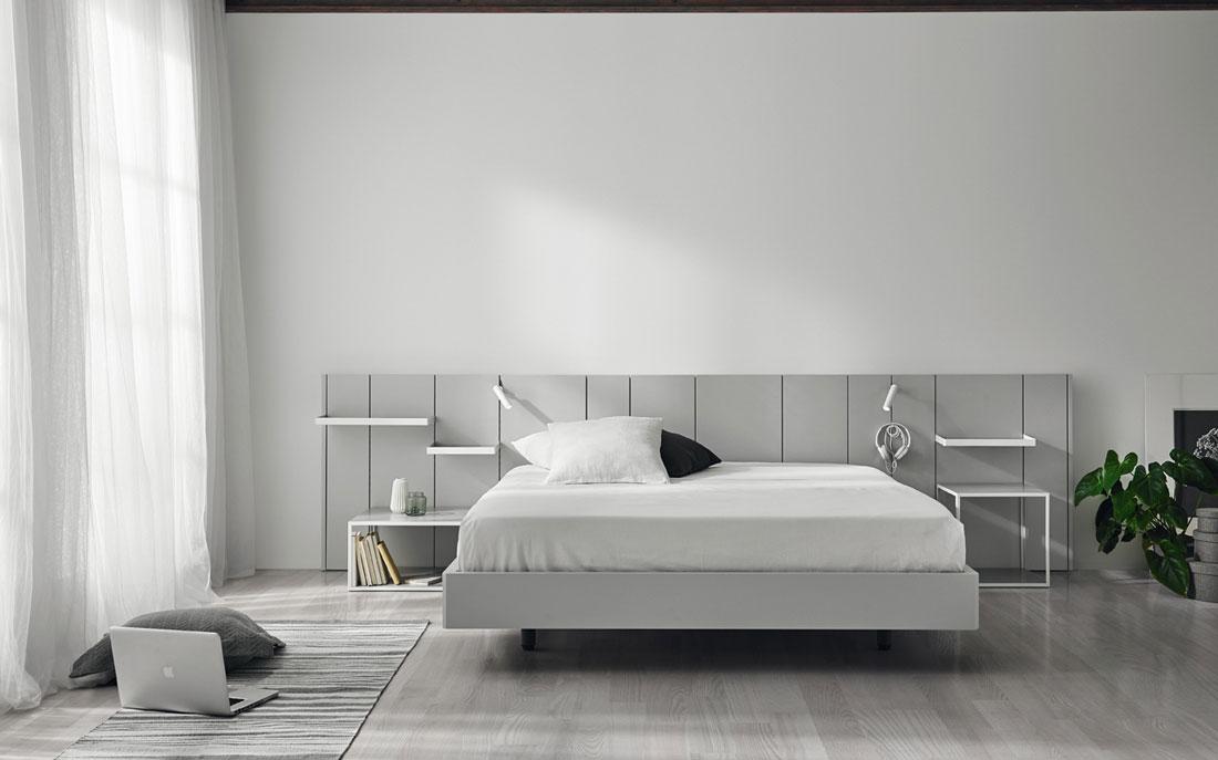 Dormitorio de matrimonio 11a-0004 color gris vista frontal con luz encendida