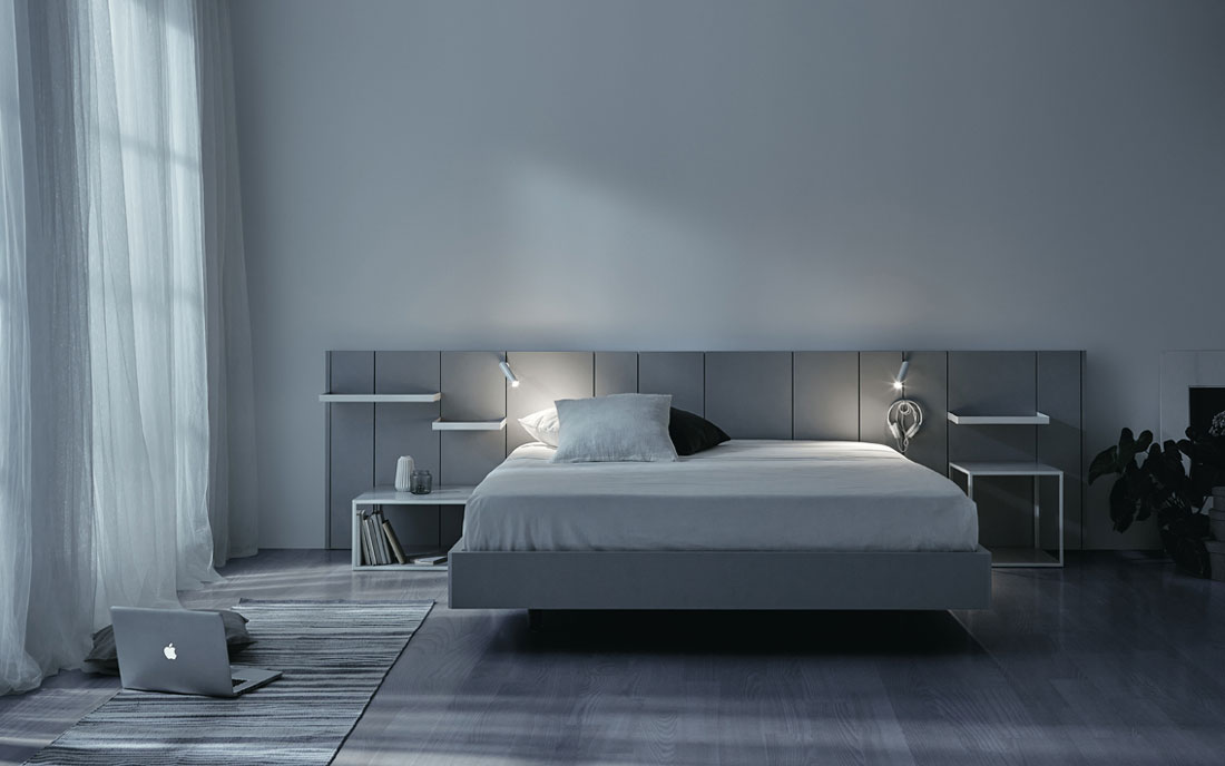 Cabecero con luces de dormitorio de matrimonio 11a-0004 color gris vista frontal con luz apagada