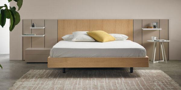 Dormitorio de matrimonio 11a-0004 acabados en madera y beige vista frontal