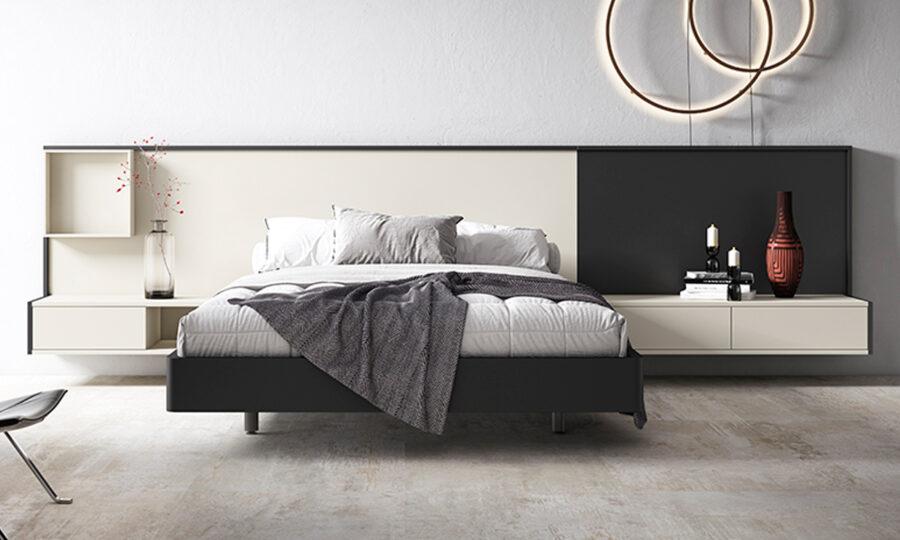 Dormitorio de matrimonio 11a-0007 color beige y negro vista frontal