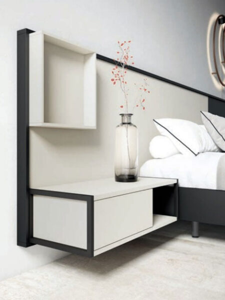 Mesilla integrada en cabecero de dormitorio de matrimonio 11a-0007 vista de detalle