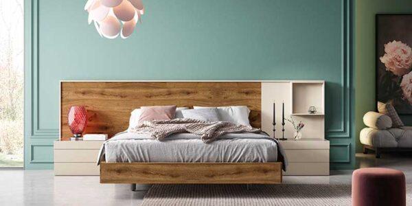 Dormitorio de matrimonio 11a-0008 color beige y madera vista completa frontal