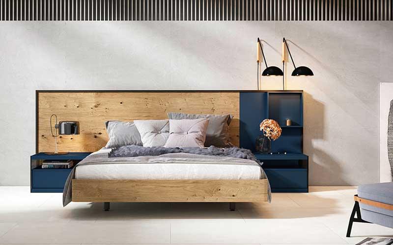 Dormitorio de matrimonio 11a-0009 color azul y madera vista completa
