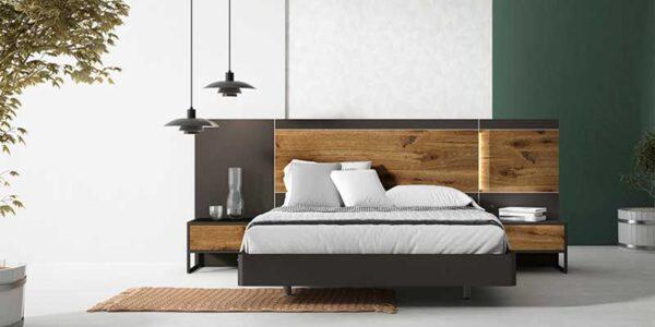 Dormitorio de matrimonio 11a-0011 color negro y roble vista frontal