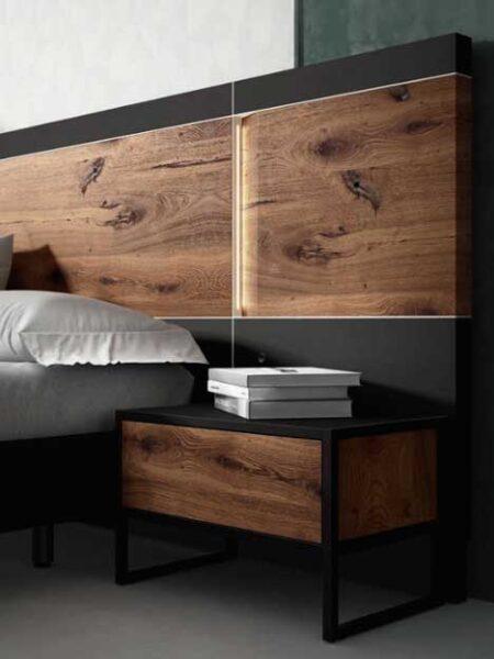 Cabecero y mesilla de dormitorio de matrimonio 11a-0011 color negro roble vista de detalle