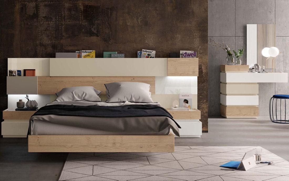 Dormitorio de matrimonio 11a-0015 color beige y madera vista completa