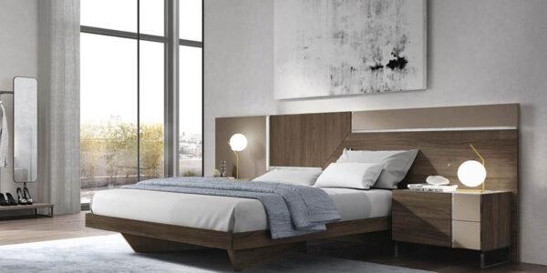 Dormitorio de matrimonio 11a-0019 color beige y madera vista completa