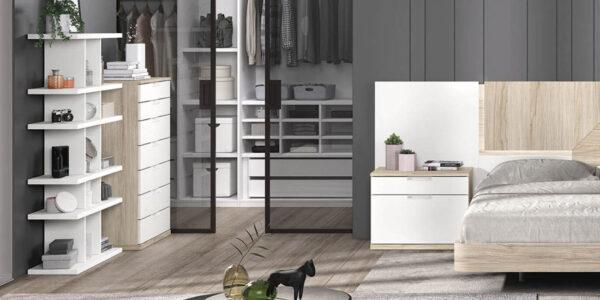 Dormitorio de matrimonio 11a-0012 color blanco y madera vista de detalle
