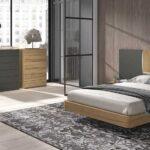 Dormitorio de matrimonio 11a-0020 color gris y madera vista general